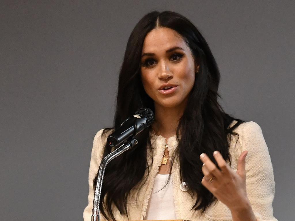 Meghan, Duchess of Sussex speaks during a school assembly back in March. Picture: BEN STANSALL / POOL / AFP.