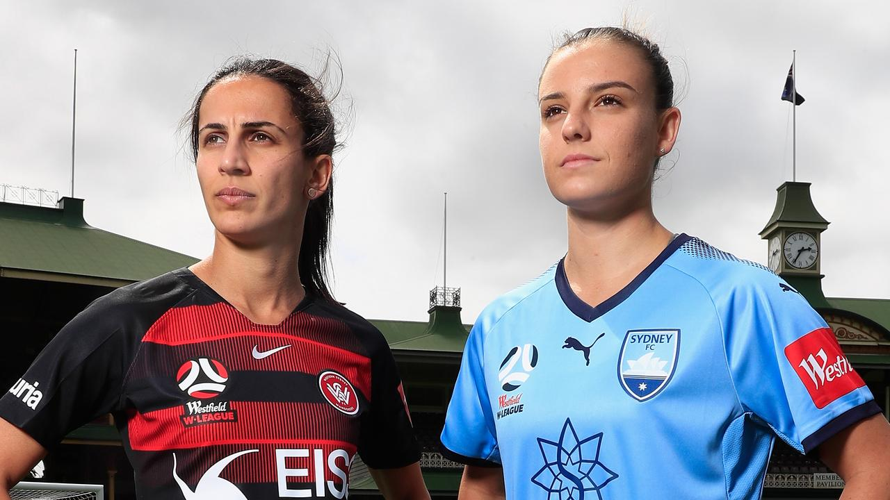 Leena Khamis of the Wanderers with Chloe Logarzo of Sydney FC will take part in the opening match of the W-League season. (Photo by Mark Evans/Getty Images for The Star)