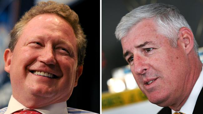 """Andrew Forrest and Cameron Clyne have had """"frank and friendly"""" discussion."""