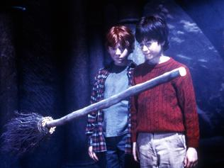 "Child actors (L-R) Rupert Grint, David Radcliffe & actress Emma Watson in 2001 film ""Harry Potter & The Philosophers' Stone"",   Watson/Actor movies scene broomstick"