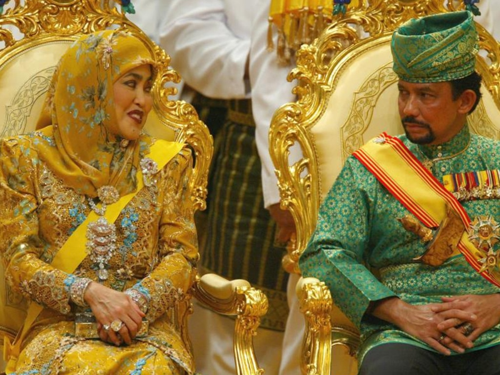The Sultan of Brunei in 2004 with and his first wife Hajah Saleha. Picture: Christopher Furlong.