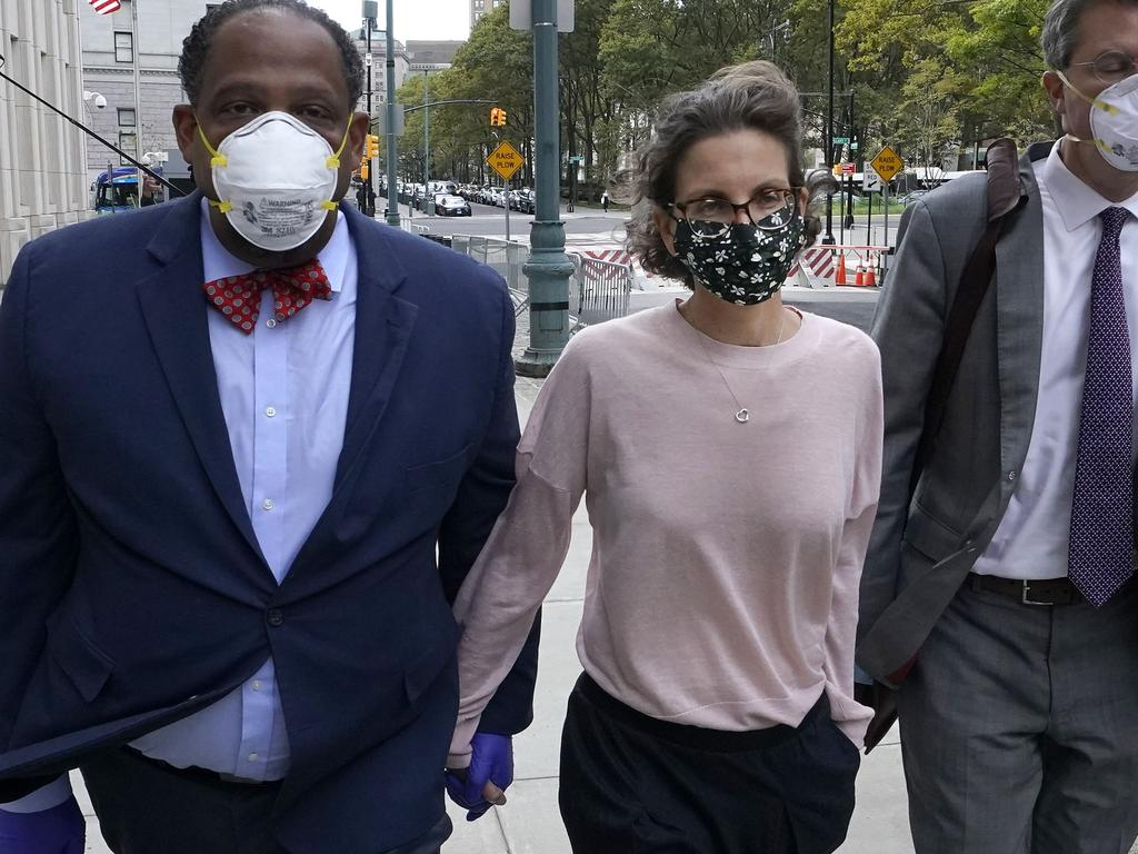 Clare Bronfman arrives at US District court in Brooklyn to be sentenced for her role in NXIVM, a group that prosecutors say operated as a pyramid scheme and sex-trafficking cult.