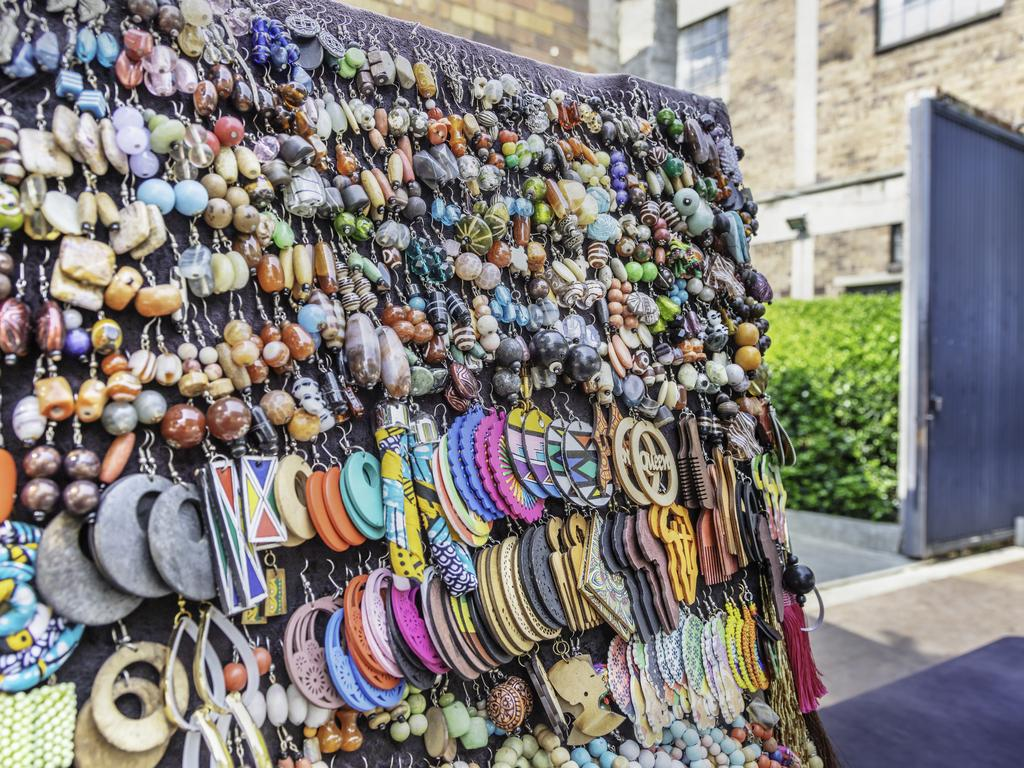 Craft jewellery for sale outside Arts on Main.