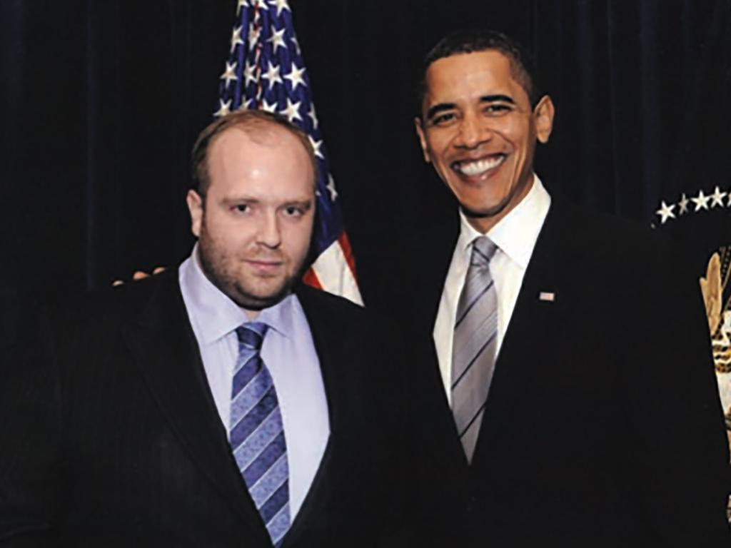 Ukraine playboy Vitaly Greechin is believed to still be in prison, pictured here with Barack Obama. Picture: Supplied