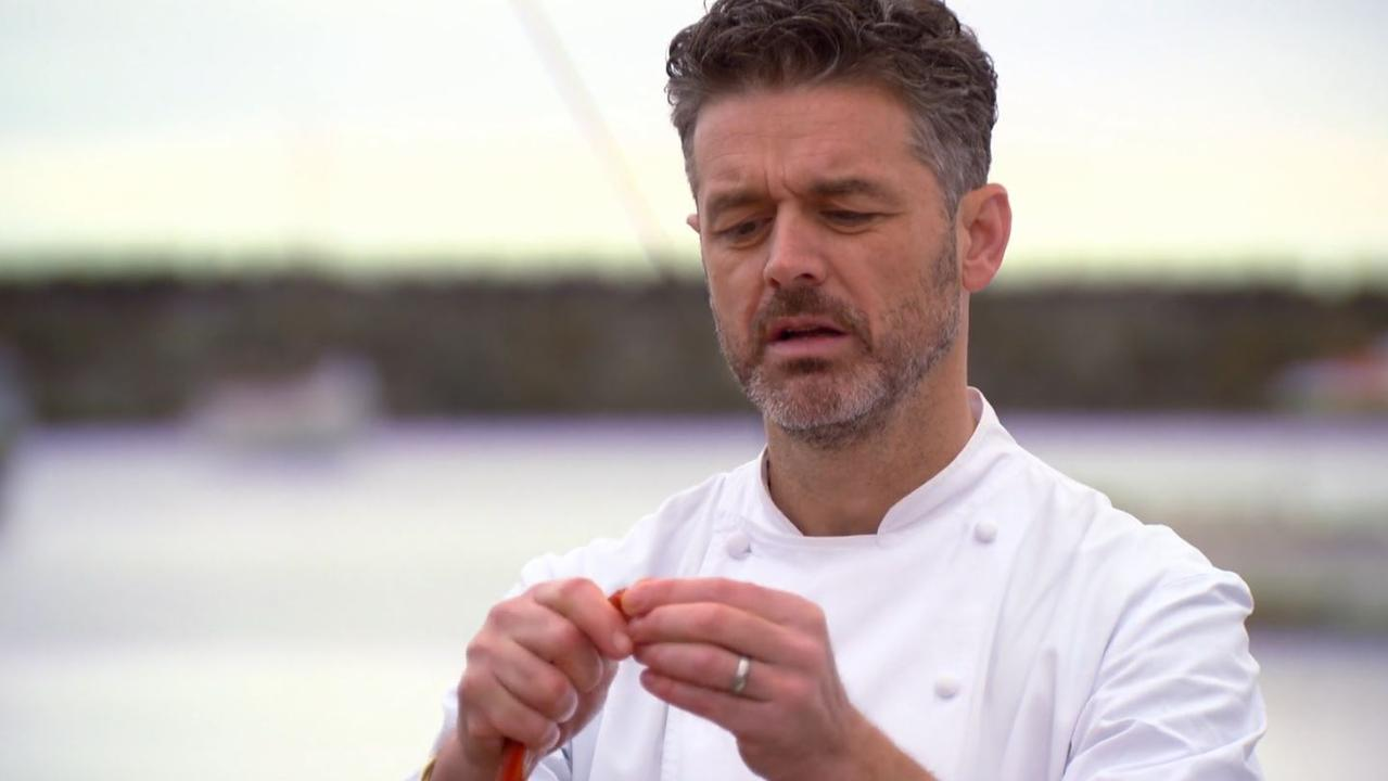 Jock showed off his incredible talents with a crayfish. Picture: Channel 10