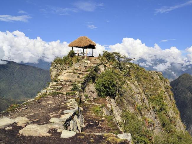 Ancient Inca Trail leading to Machu Picchu.