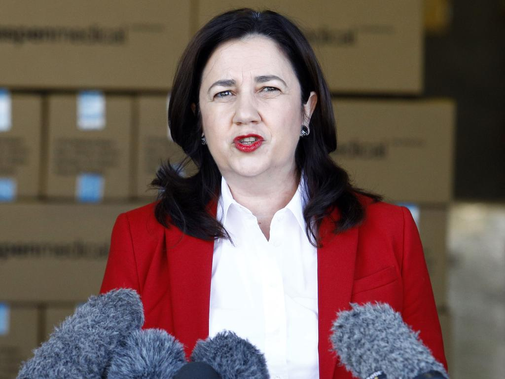 BRISBANE, AUSTRALIA - NewsWire Photos September 14, 2020: Queensland Premier Annastacia Palaszczuk and State Treasurer Cameron Dick visited the Aspen Medical Manufacturing factory in Brisbane, where masks are being manufactured, before speaking to the media. Picture: NCA NewsWire/Tertius Pickard