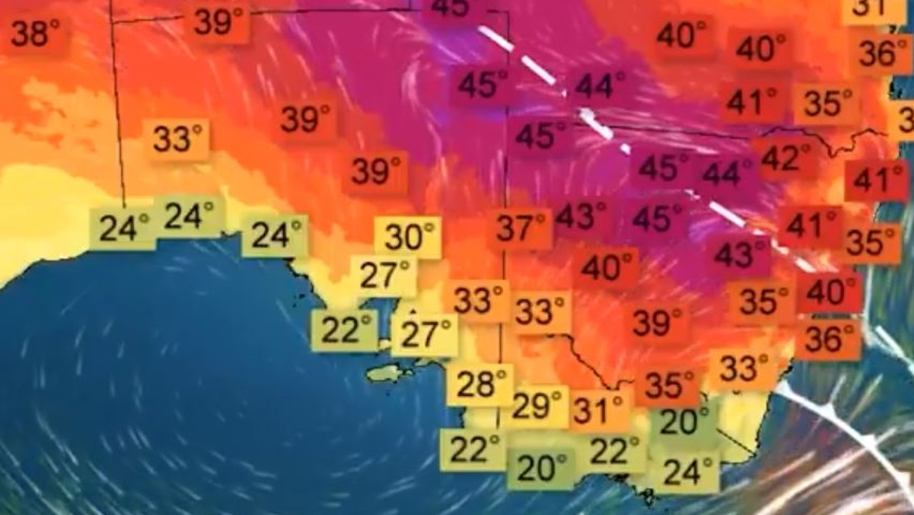 Scorching highs north of 40C are due this weekend for much of eastern Australia. Picture: BOM.