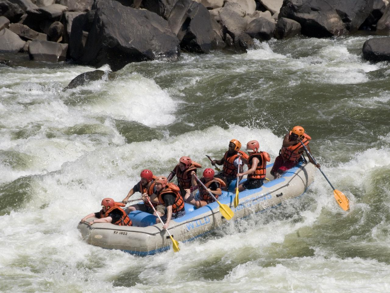 White-water rafting on the Zambesi below Victoria Falls. Picture: Getty