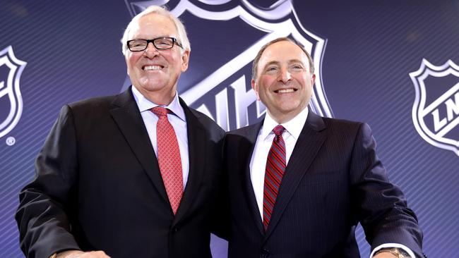 New Las Vegas NHL franchise owner Bill Foley and commissioner Gary Bettman of the National Hockey League.