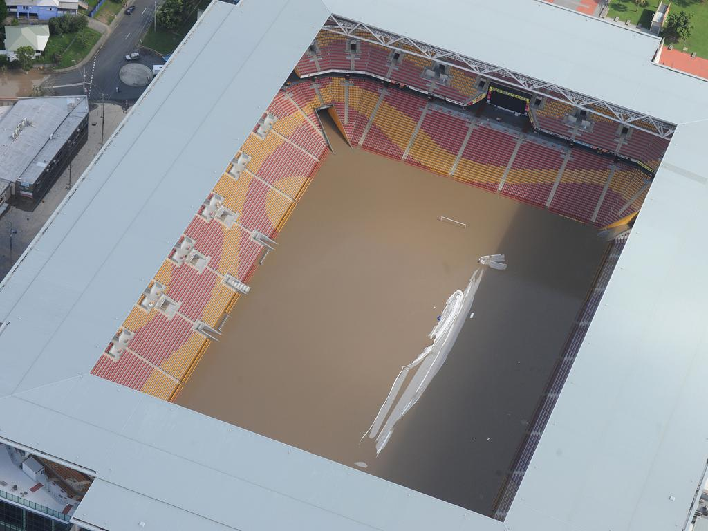 Suncorp Stadium was also underwater. Picture: AAP Image/Dave Hunt