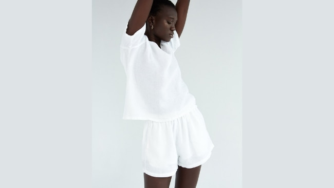 Bed Threads, 100% French Flax Linen Shorts in White