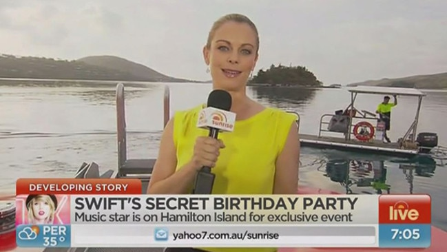 Banned ... Michelle Tapper was forced to report from a boat. Picture: Sunrise