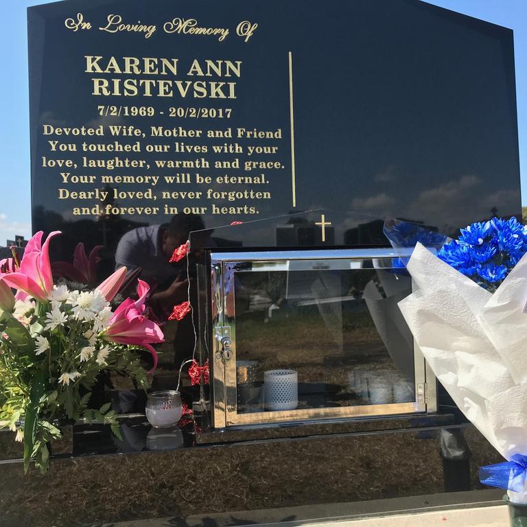 The headstone of Karen Ristevski's grave at Williamstown cemetery.