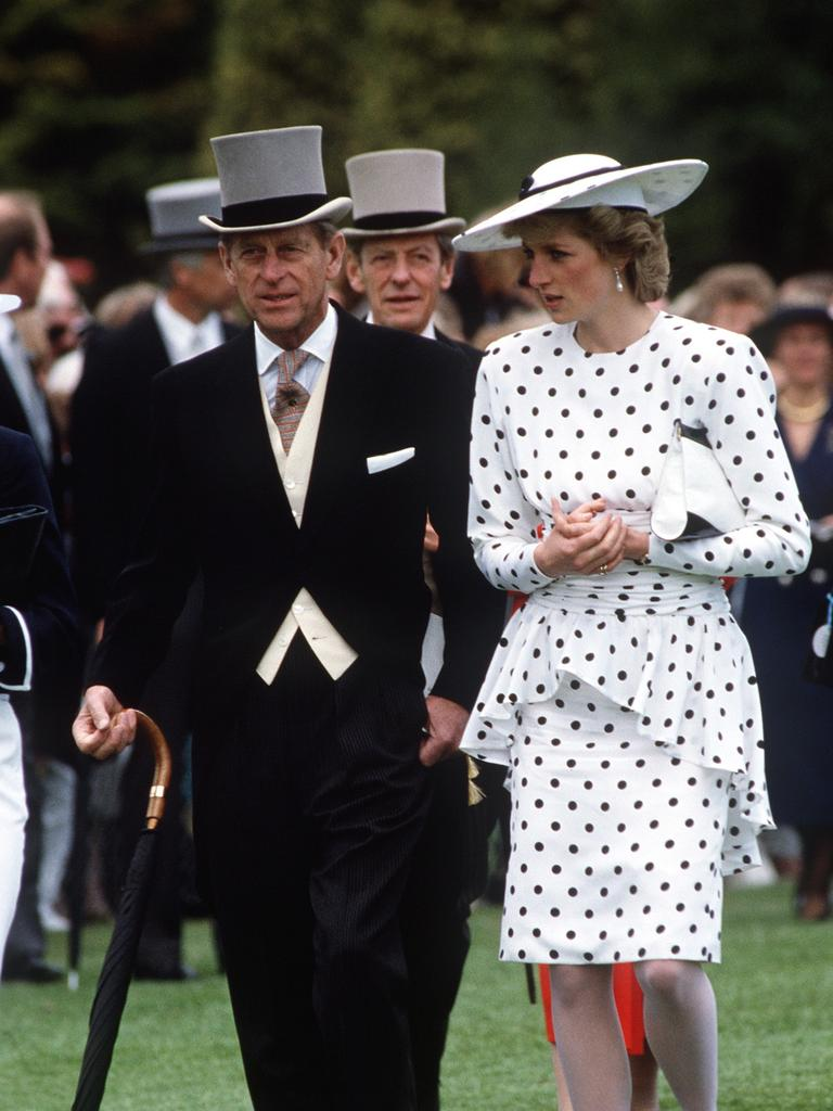 Prince Philip with Princess Diana With Prince Philip at The Derby. Picture: Tim Graham/Getty Images