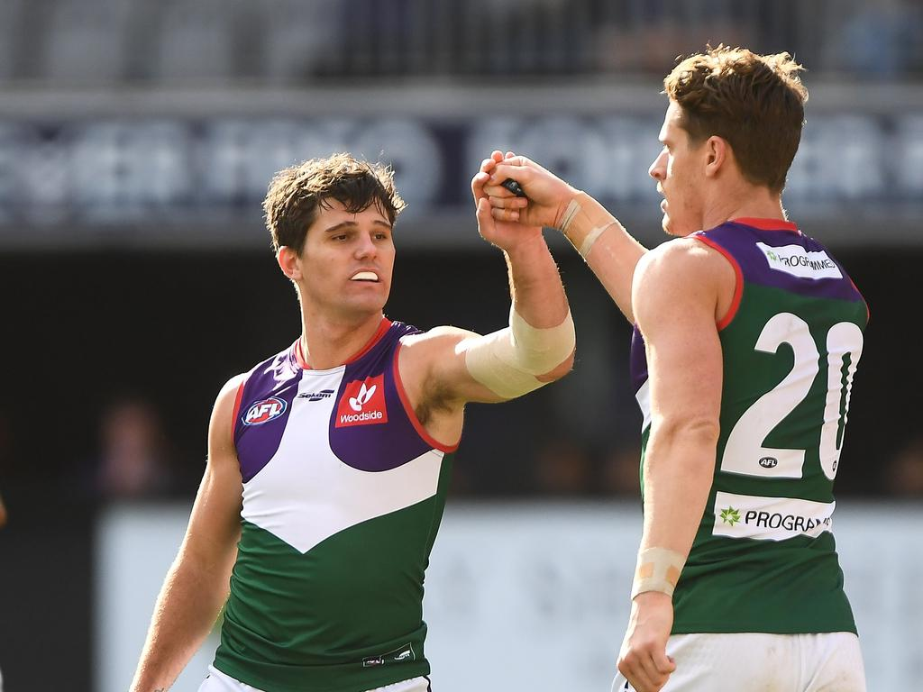 The Dockers sported their foundation guernsey to celebrate Retro Round. (Photo by Daniel Carson/AFL Photos via Getty Images)