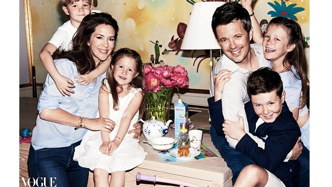 Princess Mary, Prince Frederick and their children Prince Vincent, Princess Josephine, Princess Isabella and Prince Christian. Picture: Vogue Australia August 2016, HRH Crown Princess Mary of Denmark photographed by Mario Testino