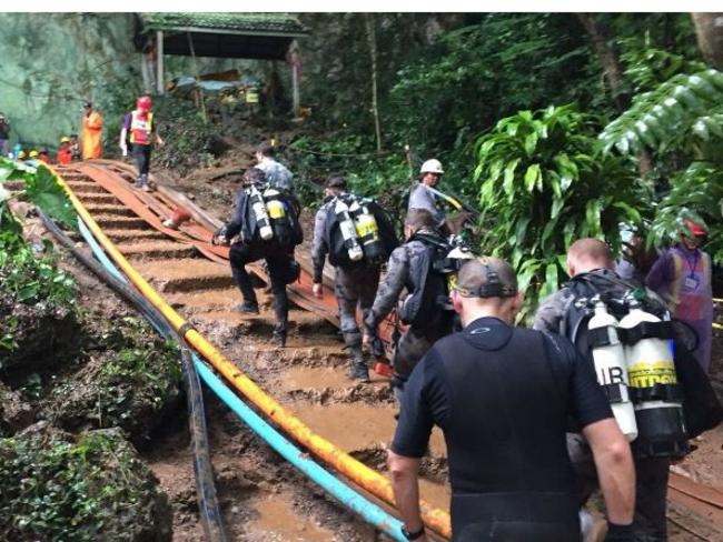 Australian Federal Police divers are helping in the rescue mission.