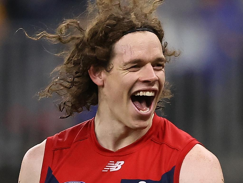 PERTH, AUSTRALIA - AUGUST 09: Ben Brown of the Demons celebrates a goal during the round 21 AFL match between West Coast Eagles and Melbourne Demons at Optus Stadium on August 09, 2021 in Perth, Australia. (Photo by Paul Kane/Getty Images)