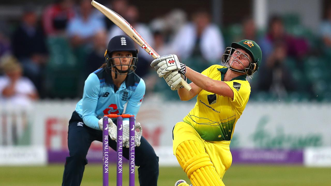 Jess Jonassen powered Australia to victory with a crucial late partnership. (Photo by Matthew Lewis/Getty Images)