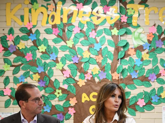 Health and Human Services Secretary Alex Azar with First Lady Melania Trump at the South's Upbring New Hope Children Center in McAllen, Texas. Picture: AFP