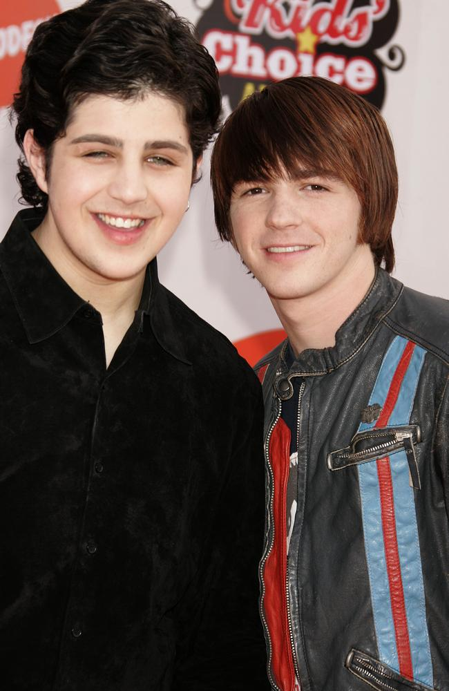 Josh Peck and Drake Bell pictured together in 2005. Their series, Drake & Josh, came to an end in 2007. Picture: Jeffrey Mayer/WireImage.
