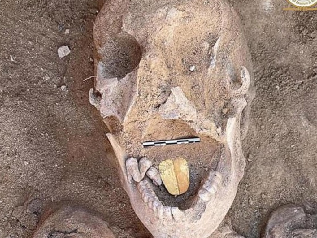 This ancient Egyptian man was buried with a golden tongue. Picture: Egypt Ministry of Tourism and Antiques