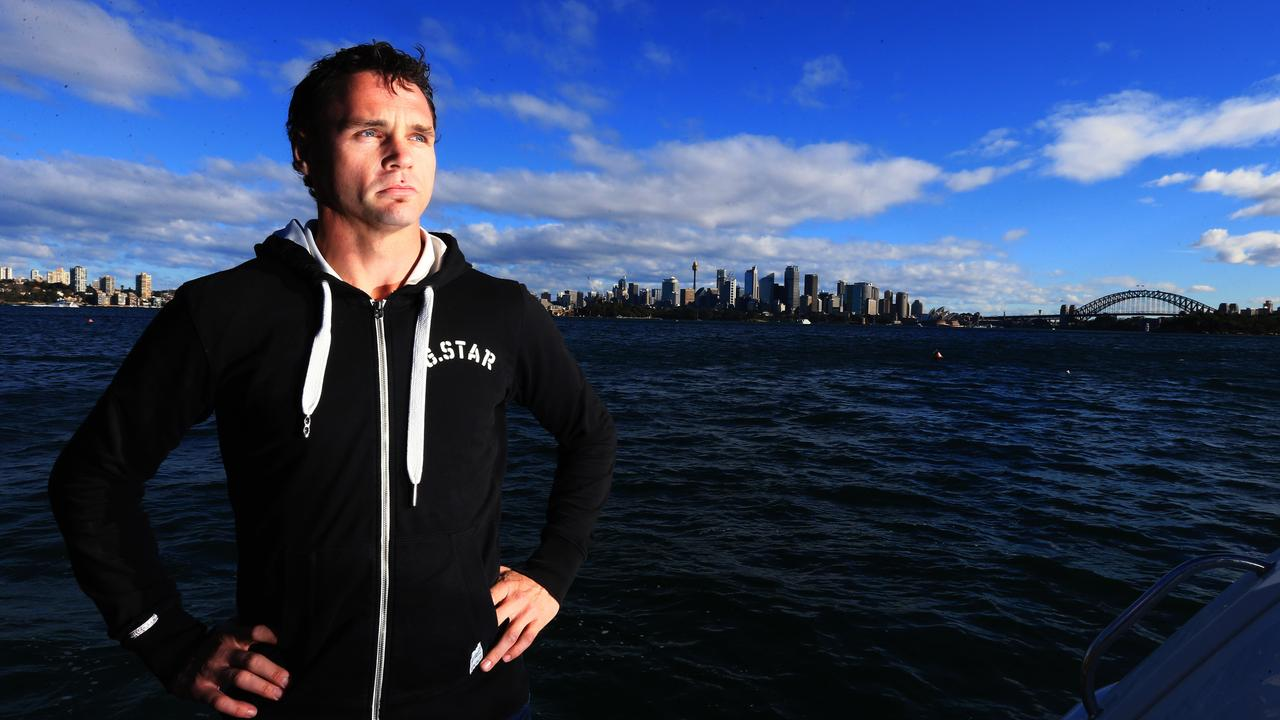 Aussie boxer Daniel Geale on Sydney Harbour today as part of a HBO feature on his up and coming Middleweight title fight at Madison Square Garden against Gennady Golovkin. Picture: Adam Taylor