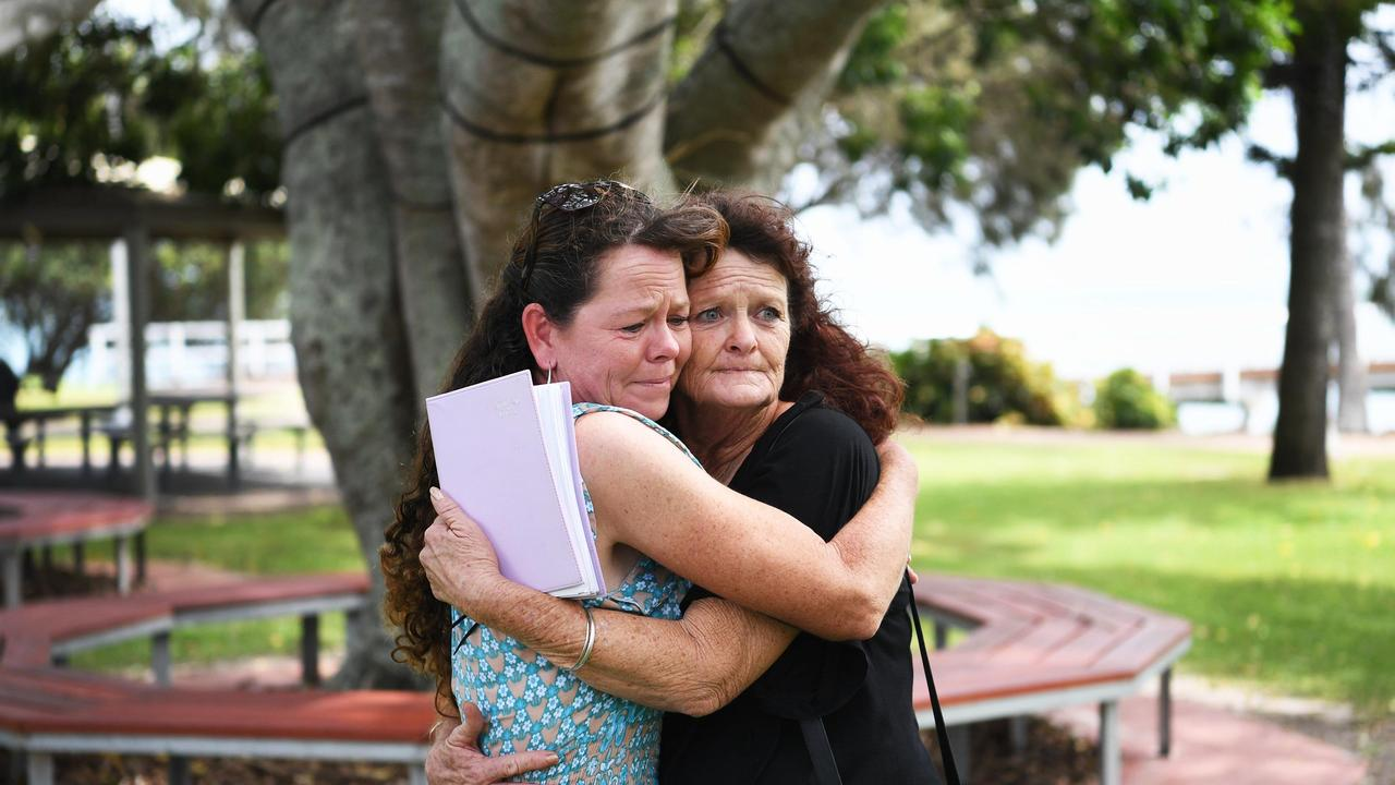 Mother of Shae Francis Cheryl Lee Francis (Right) embracing her sister Janine Francis. Photo: Cody Fox