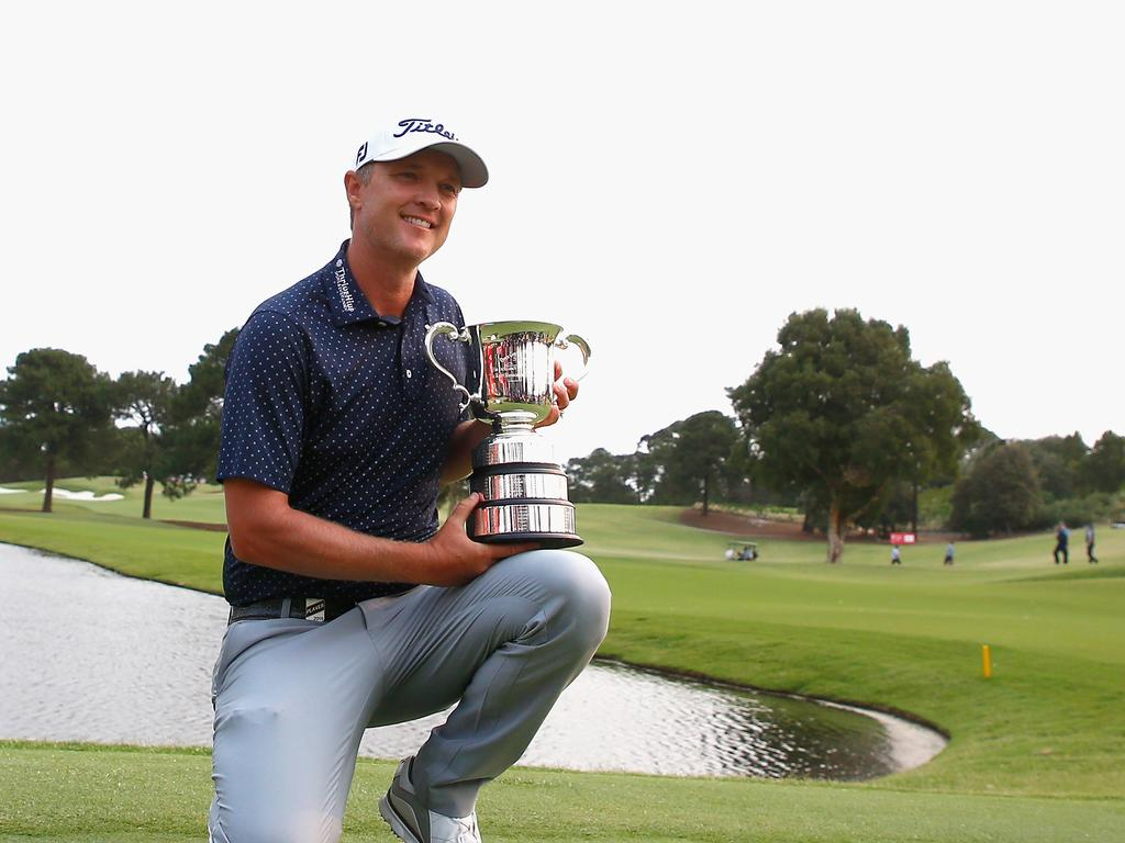 Matt Jones of Australia poses with the Stonehaven Cup after winning The Australian Open Golf Championship at The Australian Golf Club in Sydney on Sunday, December 8, 2019. (AAP Image/Jeremy Ng) NO ARCHIVING, EDITORIAL USE ONLY