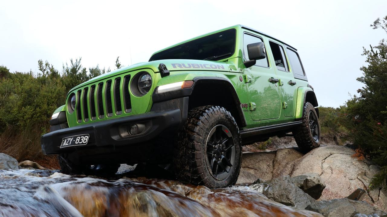 The Jeep Wrangler tackled the tough Climies Track in Tasmania with aplomb.