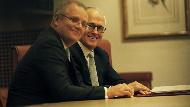 The Treasurer Scott Morrison with the Prime Minister Malcolm Turnbull during an Expenditure Review Committee Meeting in the Cabinet Room of Parliament House in Canberra. Picture Gary Ramage