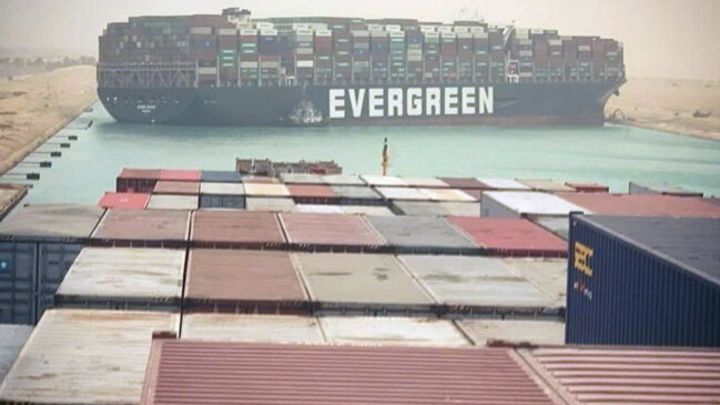 Video: Suez Canal Blocked by Giant Container Ship