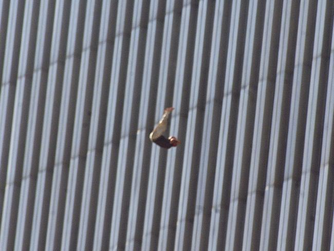 A person falls from the north tower of New York's World Trade Center. Picture AP Photo/Richard Drew