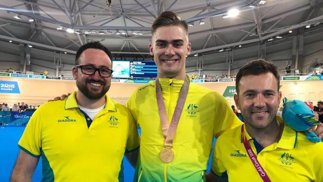 Ross Edgar (right) with keirin gold medallist Matthew Glaetzer and fellow Australian sprint coach Nick Flyger.