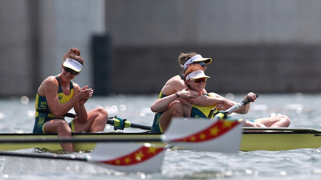 World champions Rosemary Popa, Jessica Morrison and Annabelle Mcintyre have now become Olympic champions after winning gold at the Tokyo Olympics. Photo: Naomi Baker/Getty Images