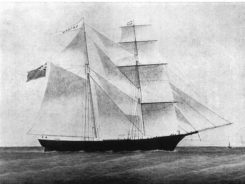 """UNDATED : Two-masted brig Mary Celeste in undated image from book """"Mary Celeste: The Odyssey of an Abandoned Ship"""", which was found near Azores off coast of Portugal in late 1872 with captain, his family & crew missing. Historical Shipping"""