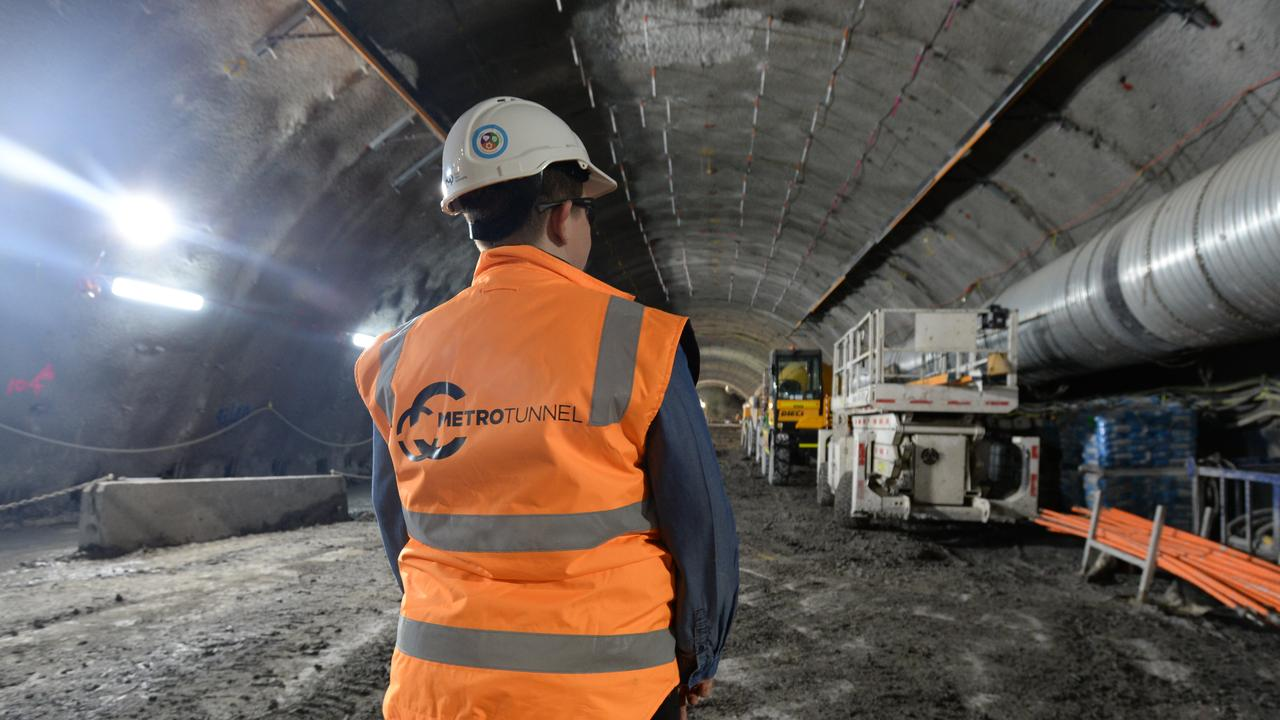 The Melbourne Metro rail tunnel is currently under construction. Picture: Andrew Henshaw