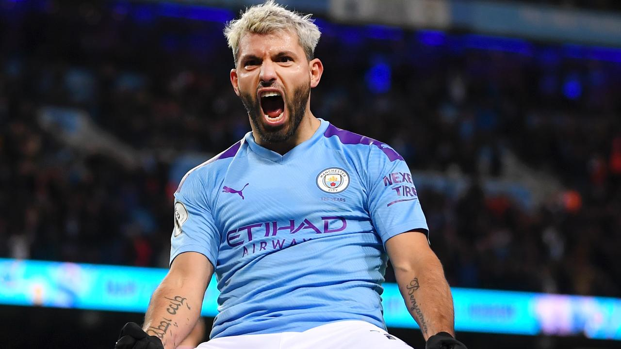 Sergio Aguero leaves Manchester City a champion. (Photo by Laurence Griffiths/Getty Images)