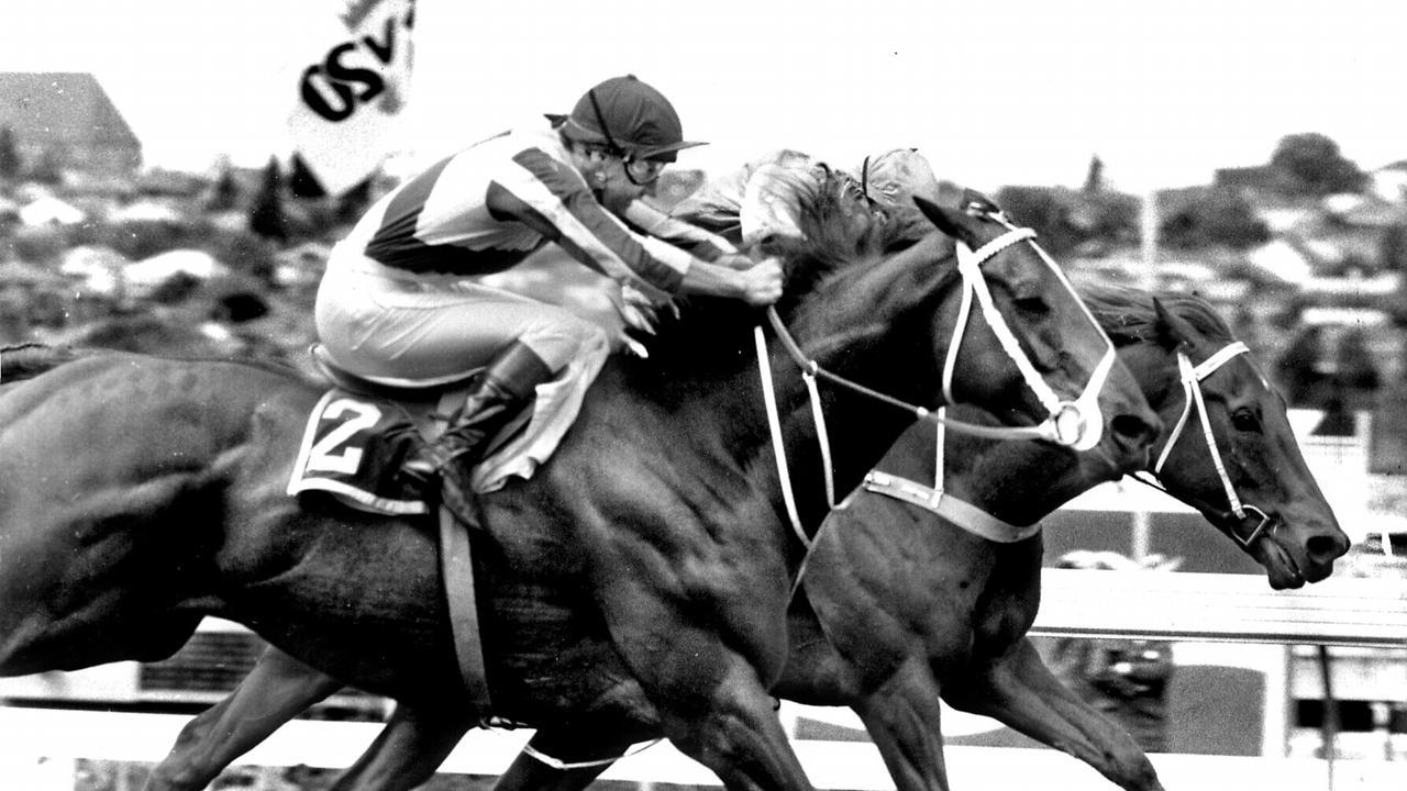 Racehorse Bonecrusher (rails) ridden by jockey Gary Stewart winning 1986 WS Cox Plate at Moonee Valley in Melbourne. pic News Ltd.