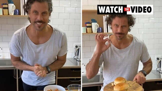 Sam Wood shows off his disastrous lockdown makeover in Instagram cooking video