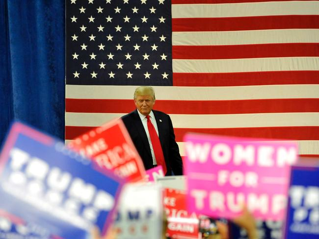 Republican pesidential nominee Donald Trump arrives for a campaign rally on the campus of University of Northern Colorado in Greeley, Colorado. The Republican candidate has clawed-back lost ground in the polls in recent days. Picture: AFP / Jason Connolly