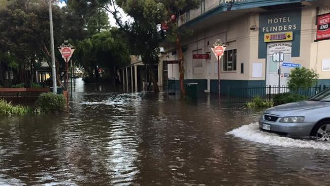 Port Augusta's main street was flooded in an hour after heavy rain in December. Picture: Angela Corbett