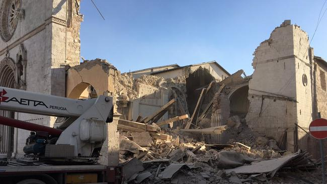 St Benedict's Monastery in Norcia has reportedly been destroyed. Picture: The Monks of Norcia/Twitter