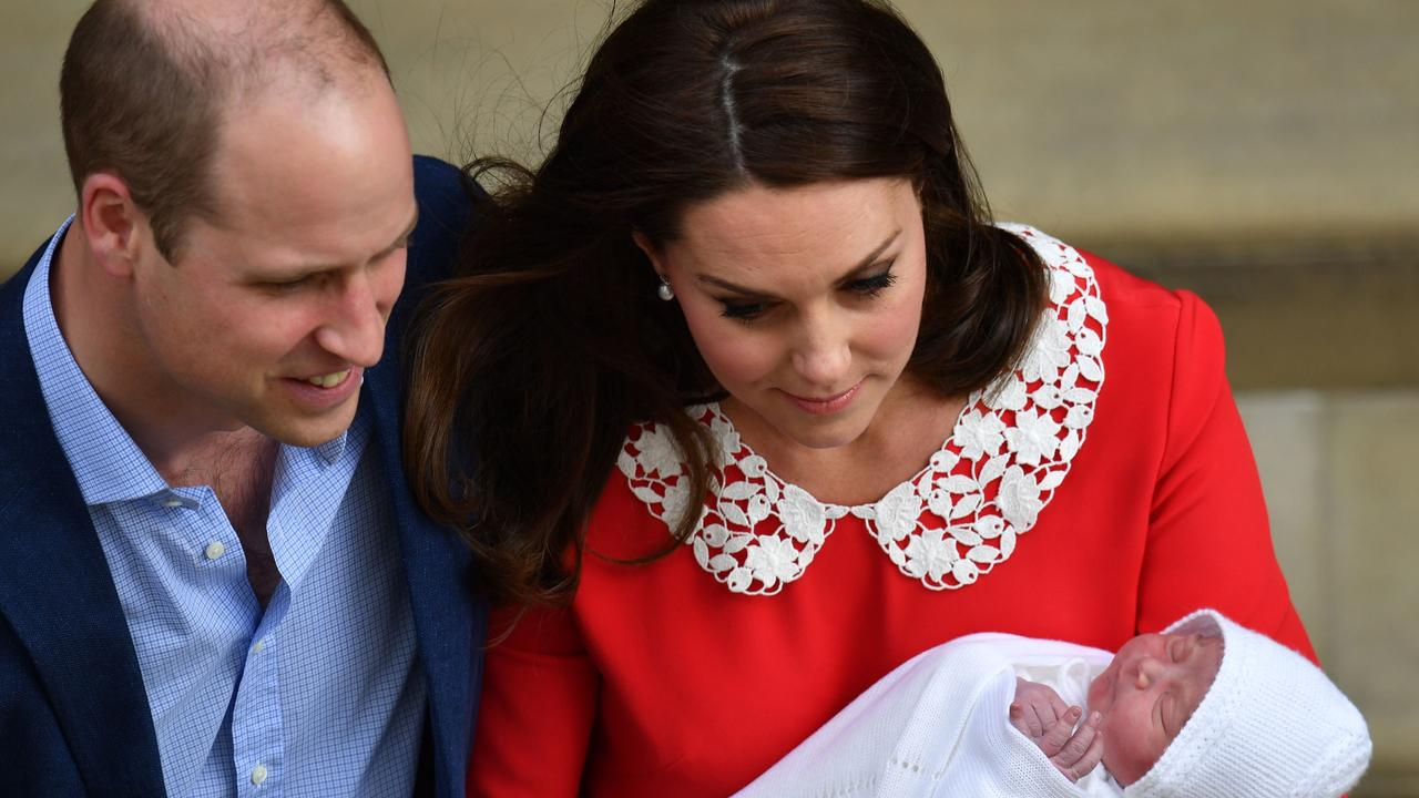 The Cambridges posed with their newborn son last April outside the hospital. Picture: AFP Photo/Pool/John Stillwell