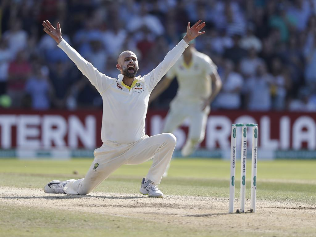 Nathan Lyon desperately appeals or the wicket of Ben Stokes.