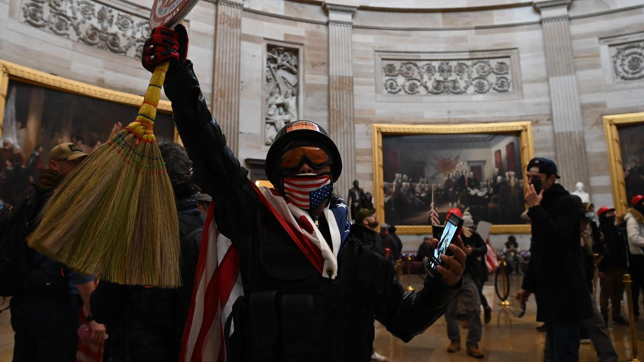 Trump supporters inside the Capitol's Rotunda. Picture: Saul Loeb/AFP