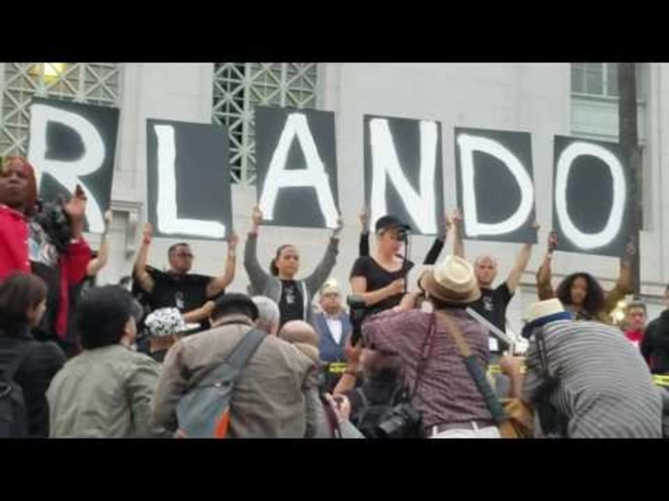 US CA: Lady Gaga Speaks at Vigil for Orlando Shooting Victims in LA June 13