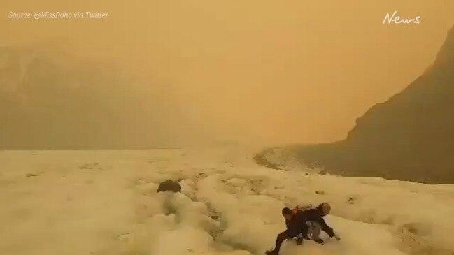 NZ glaciers turned brown from Australia bushfire smoke