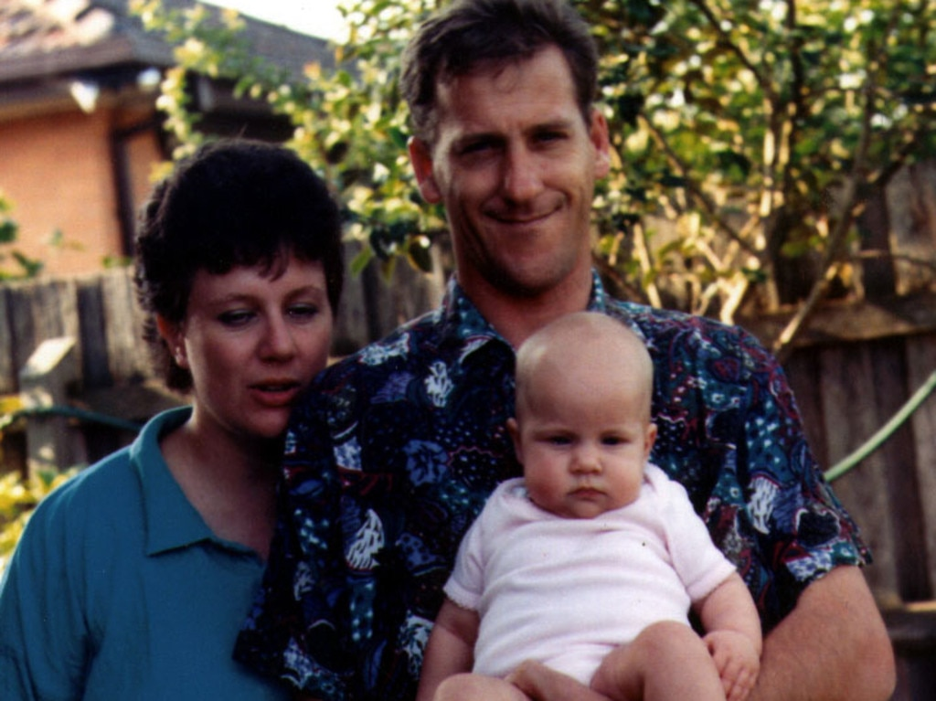 Sarah Folbigg (pictured) with parents Kathleen and Craig in early 1993. She died in August that year and her mother Kathleen was convicted of her murder.